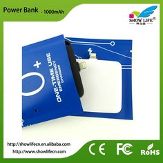 New design 2-in-1 USB port disposable powerbank 1000mAh mini one time use power bank for iPhone and Android