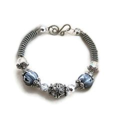 Silver Wire Wrapped Bracelet with Grey and by SarahsArtisanJewelry, $29.00