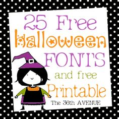 Free fonts and Halloween Printable by the36thavenue.com
