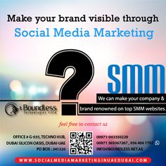 Boundless Technologies is a noteworthy name in the field of Social Media Marketing. We have confidence in offering the best and most professional services to the customers; Our Social Media Marketing team is superb, solid and trust-worthy, with our selective spotlight on offering brand promotion services.   http://www.socialmediamarketinginuaedubai.com