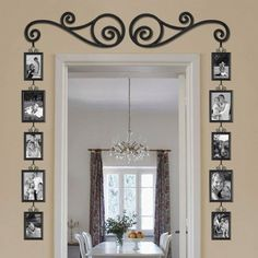 Cute way to add a lot of pictures without using a lot of nails in the wall