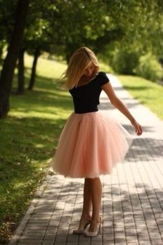 peach-tutu-dress-skirt-handmade-variable-waist-knee-long-midi-tulle-beige