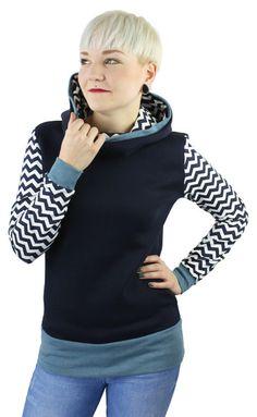 Hoodies - hoodie dunkel blau chevron muster - ein Designerstück von JAQUEEN-handmade-streetwear-berlin bei DaWanda