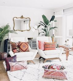 Amazing boho living room, brick wall, living room decor ideas, modern living room – All About Home Decoration Colourful Living Room, Boho Living Room, Living Room Modern, Living Room Designs, Small Living, Cozy Living, Living Room Elle Decor, Living Room Brick Wall, Room Decor Boho