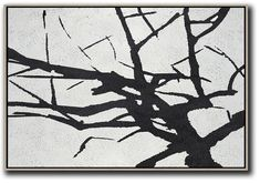 CZ Art Design - Hand painted oversized Horizontal Minimalist Abstract Tree Art, black and white tree painting canvas art. Perfect for contemporary homes and neutral interiors. #MN6C