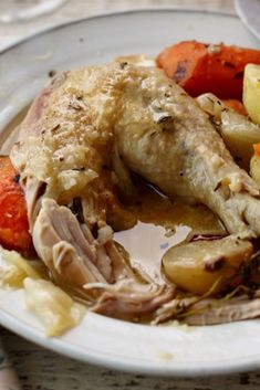 Chicken simmered with lemon and wine