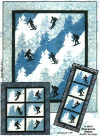 Downhill Wallhanging, Banner and Quilt Pattern by Marjorie Rhine of Quilt Design NW at KayeWood.com. Do you have a skier or snowboarder in the family. He/she is sure to love this quilt featuring winter sports. Fusible applique is all attached by machine and for every cutting you get 2 blocks or rows. http://www.kayewood.com/item/Downhill_Wallhanging_Banner_and_Quilt_Pattern/3896 $9.50