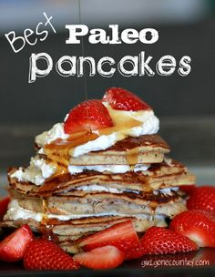 Best Paleo Pancakes - made with a combo of almond meal and coconut flour. These are low carb and packed with protein.