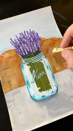 Gouache Painting a Mason Jar with Lavender - Mason jars with flowers are so beautiful, however I must admit they have always been something that - Cute Canvas Paintings, Canvas Painting Tutorials, Small Canvas Art, Diy Canvas Art, Painting Techniques, Flower Painting Canvas, Gouache Painting, Art Tutorials, Creative Art
