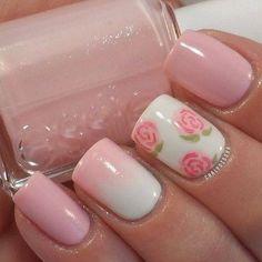 Lovely rose nail art. Love the ombre on the ring finger. :)