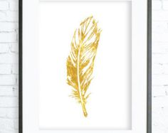 gold feather print gold feather printable by Designsbybiancab