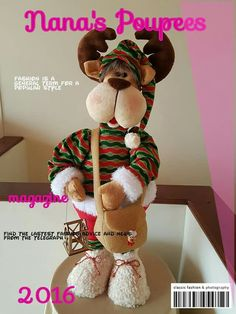 Lindo Reno Cute Crafts, Crafts To Sell, Decor Crafts, Diy And Crafts, Mary Christmas, Christmas Art, Reindeer Christmas, Stuffed Animal Patterns, Diy Stuffed Animals
