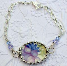 Bracelet Broken China bijoux violet et bleu par Robinsnestcreation1