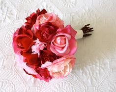Roses, Ranunculus, Peonies Wedding Bouquet in LIght Pink, Hot Pink, Fuchsia, Red (Real Touch and Artificial Silk Flowers Bouquet). via Etsy.