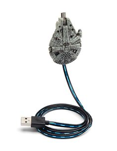 From Thinkgeek: This Millennium Falcon charger comes with a 34″ long cord illuminated by a blue light strip that animates when charging. There's a micro-USB plug built into the front of…