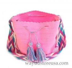 Pink Mochila Wayuu ~ Authentic Wayuu Bag Crossbody 10 in. x 9 in., strap drop 19 in.