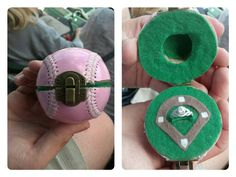 Baseball Ring Box: cut ball in half with band saw, cut deep incision for ring holder and used dremel for deep dome above ring, layed felt, attach hinge on back and clasp on front.