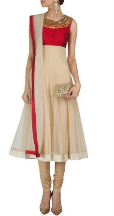 Beige n red anarkali