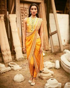 Are you bored of the old-fashioned saree draping styles? We have some awesome and unique saree draping styles for you. Dhoti Saree, Anarkali, Churidar, Khada Dupatta, Salwar Kameez, Sarees, Saree Draping Styles, Saree Styles, Indian Attire