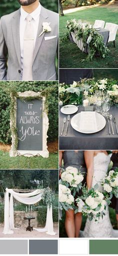gray and white greenery garden wedding ideas wedding table Five Beautiful Wedding Colors In Shades of Grey Wedding Table, Wedding Ceremony, Rustic Wedding, Our Wedding, Ceremony Arch, Wedding Venues, Wedding Greenery, 2017 Wedding, Wedding Napkins