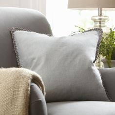 Armelle Linen Pillow Cover, Stone   A delicate crochet border adds a dash of elegant detail to this linen pillow cover.