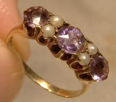 Antique Birks Amethysts and Pearls Ring 1900 1910 14 K Size Antique Jewelry, Vintage Jewelry, Vintage Rings, Gold Art, Silver Rounds, Pearl Ring, Yellow Gold Rings, Stone Rings, Amethysts