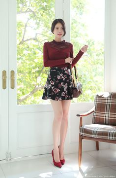Korean Women`s Fashion Shopping Mall, Styleonme. Fashion Models, Girl Fashion, Fashion Outfits, Womens Fashion, Flared Mini Skirt, Girls In Mini Skirts, Elegant Outfit, Madame, Korean Women