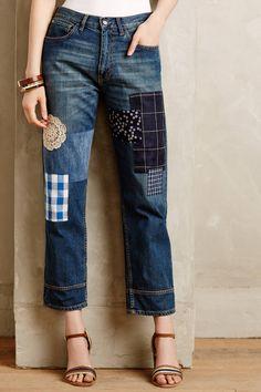 Erika Cavallini Patchwork Jeans - anthropologie.com