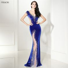 ==> [Free Shipping] Buy Best Real Model Picture Royal Blue Sexy Backless Evening Dress Mermaid 2017 V Neck Short Sleeve Women Long Formal Prom Party Gown Online with LOWEST Price | 32815753898