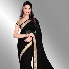 Buy Black Faux Georgette Saree with Blouse online, work: Embroidered, color: Black, usage: Casual, category: Sarees, fabric: Georgette, price: $31.00, item code: SBH408, gender: women, brand: Utsav
