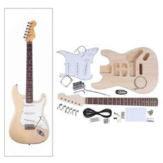 DIY Electric Guitar Kit ST Style Basswood Body Maple Neck Dark Stain 21 Fret Fingerboard