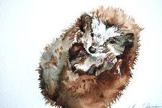 Watercolor Painting Original Hedgehog Study by WoodPigeon on Etsy