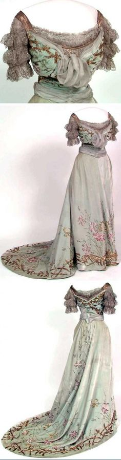 No date. Silk (velvet and chiffon), blonde cotton machine lace, lamé, glass beads, metallic embroidery, silk lining. Norwegian Folk Museum