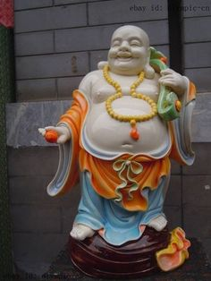 18 Inch Chinese wucai porcelain handcraft carved finely happy buddha statues