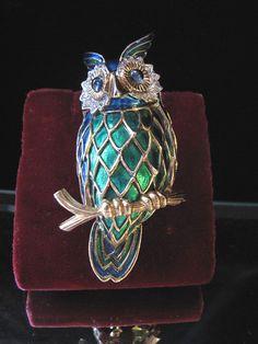 Wonderful Blue & Green Enameled Jomaz Owl Brooch