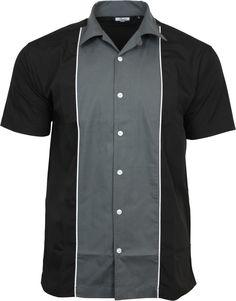 Relco Mens Grey   Black Bowling Shirt Rockabilly Retro 50s Club Swing Lounge cf6ac7e0b