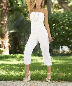 Look what I found on #zulily! White Ruched Strapless Jumpsuit #zulilyfinds