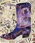 """""""Bleed Purple"""" 12132, a donation auction torn paper collage for Tarleton State University TTS/TTP Association. Daily Paintworks - The Nancy Standlee Gallery of Original Fine Art"""