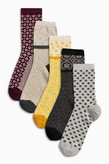 Double Pattern Ankle Sock Five Pack (384261G65) | £10