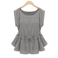 European Style Fashion Slim Stripe Lace-up Short Sleeve Round Collar Blouse ($13.93) http://www.clubwholesale.net/women/women-blouse