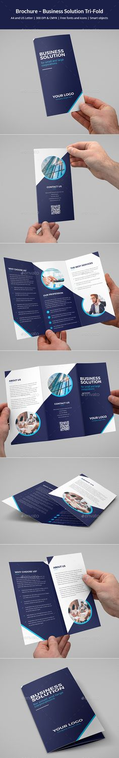 Brochure – Business Solution Tri-Fold - #Corporate #Brochures Download here: https://graphicriver.net/item/brochure-business-solution-trifold/19524111?ref=alena994