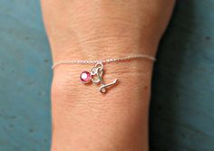 Personalized Initial Bracelet Bridesmaid Jewelry Swarovski Crystal or Pearl Sterling Silver Mother of of the Bride Gift