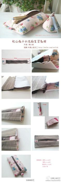 Most inspiring pictures and photos! Sewing Hacks, Sewing Tutorials, Sewing Patterns, Fabric Crafts, Sewing Crafts, Sewing Projects, Diy Pencil Case, Diy Sac, Wallet Tutorial