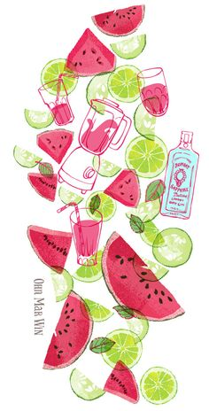 Ohn Mar Win. Illustrated recipe for Watermelon cooler, mixing rum with cucumber, mint, limes and watermelon.