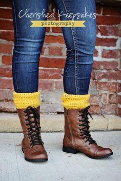 Boot Cuffs, Leg Warmers, Boot Toppers, Mustard, Choose