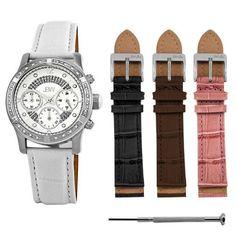 JBW Women's JB-6237-C.set Venus Silver White Designer Leather Diamond Watch with Interchangeable Band Set JBW. $435.00