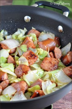 Kielbasa and Cabbage Skillet - This fast one-pan skillet dish is filling, full of flavor, and so easy for St. Patrick's Day or any weeknight dinner! patricks day dinner low carb Kielbasa and Cabbage Skillet Recipe - Belly Full Cabbage Recipes, Pork Recipes, Paleo Recipes, Low Carb Recipes, Dinner Recipes, Cooking Recipes, Meals With Cabbage, No Carb Foods, Recipies