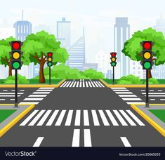 Illustration of streets crossing in modern city, city crossroad with traffic lights, markings, trees and sidewalk for pedestrians. beautiful cityscape on background. Kids Background, Cartoon Background, Police Officer Crafts, School Frame, Powerpoint Background Design, Traffic Light, Home Learning, Modern City, Pictogram