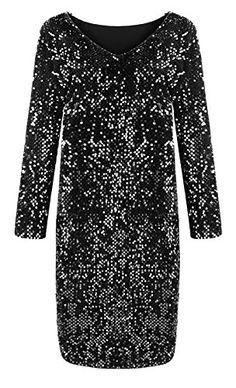 Yomoko Women s Sequin V-Neck Long Sleeve Bodycon Sparkle Party Sheath Mini  Dress Sparkle Party 5107fbea3277