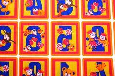 """Vintage Stoffe - Vintage Stoff """"Tierische Zahlen"""" 100x... - ein Designerstück von VintageGoods bei DaWanda"""